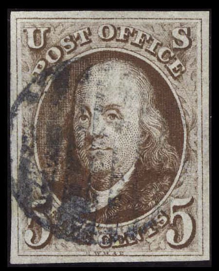 31008: #1a, 1847, 5c Dark Brown, VF-XF 85 PSE. (Used).