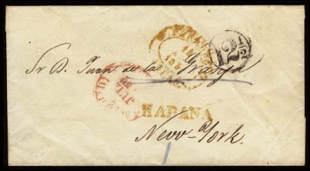 32654: 1850 Havana to New York. An attractive small sta