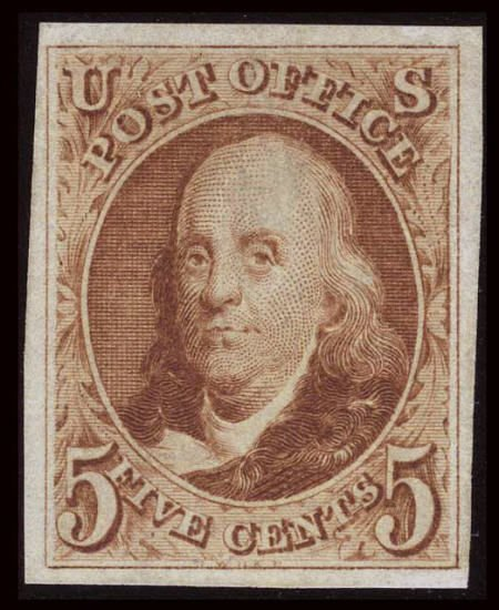 32673: #3, 1875 Reprint, 5c Red Brown. (No Gum As Issue