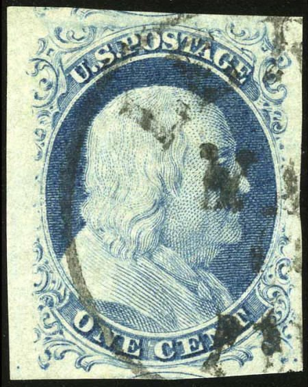 32675: #9, 1852, 1c Blue XF 90 PSE. (Used). Almost a ju