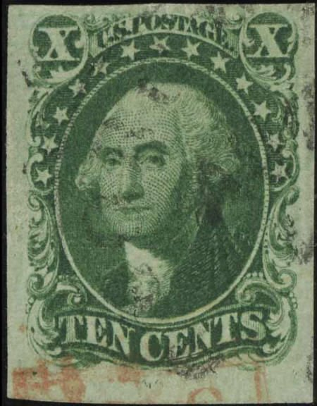 32680: #13, 1855, 10c Green VF 80 PSE. (Used). Red and