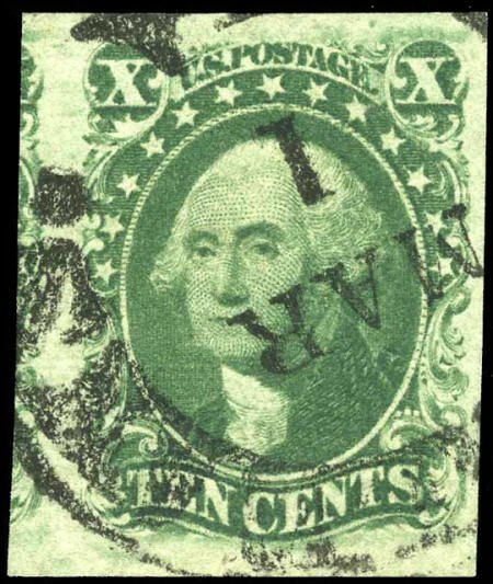 32684: #15, 1855, 10c Green. (Used). A Fine to Very Fin