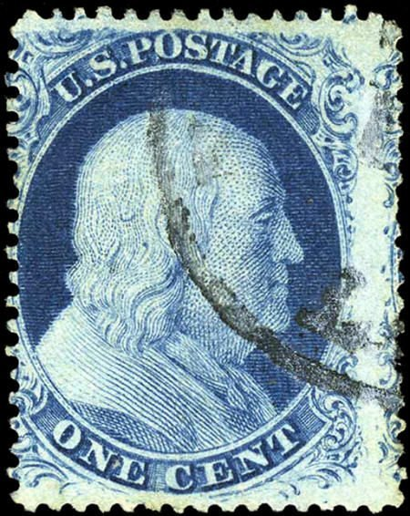 32687: #21, 1857, 1c Blue. (Used). Fresh used example,