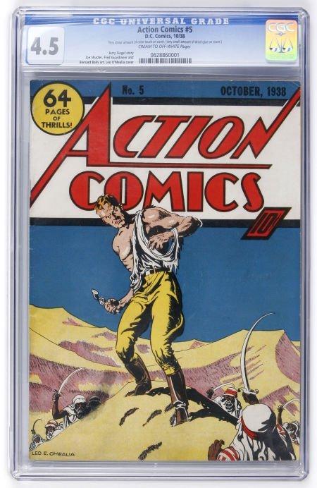 91002: Action Comics #5 (DC, 1938) CGC VG+ 4.5 Cream to