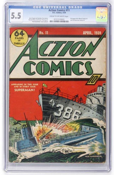 91003: Action Comics #11 (DC, 1939) CGC FN- 5.5 Cream t