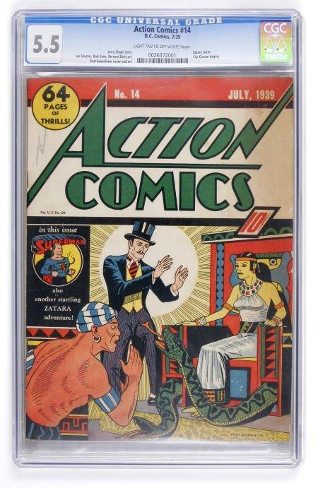 91004: Action Comics #14 (DC, 1939) CGC FN- 5.5 Light t