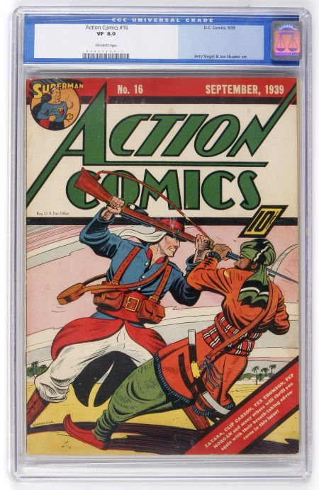 91005: Action Comics #16 (DC, 1939) CGC VF 8.0 Off-whit