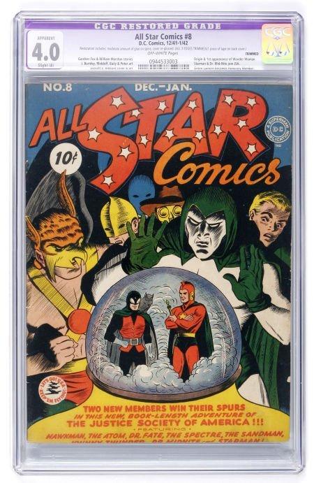 91015: All Star Comics #8 (DC, 1942) CGC Apparent VG 4.