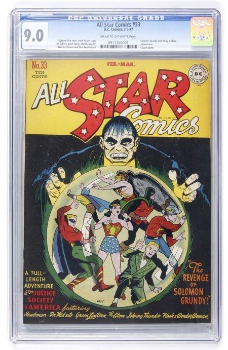 91017: All Star Comics #33 (DC, 1947) CGC VF/NM 9.0 Cre