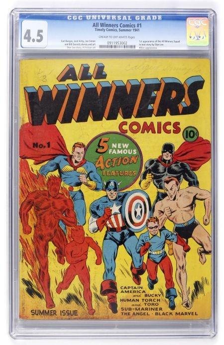 91021: All Winners Comics #1 (Timely, 1941) CGC VG+ 4.5