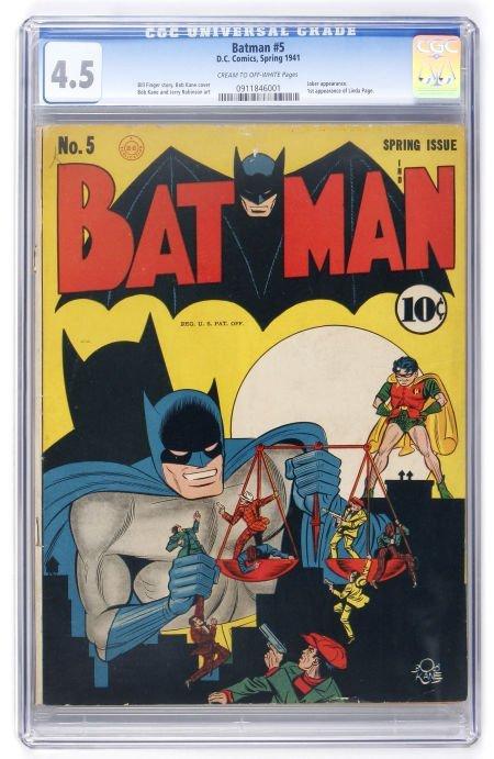 91024: Batman #5 (DC, 1941) CGC VG+ 4.5 Cream to off-wh