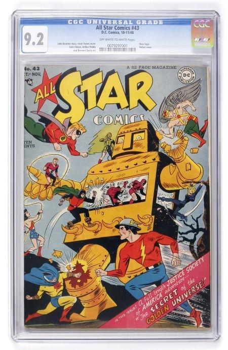 91019: All Star Comics #43 (DC, 1948) CGC NM- 9.2 Off-w