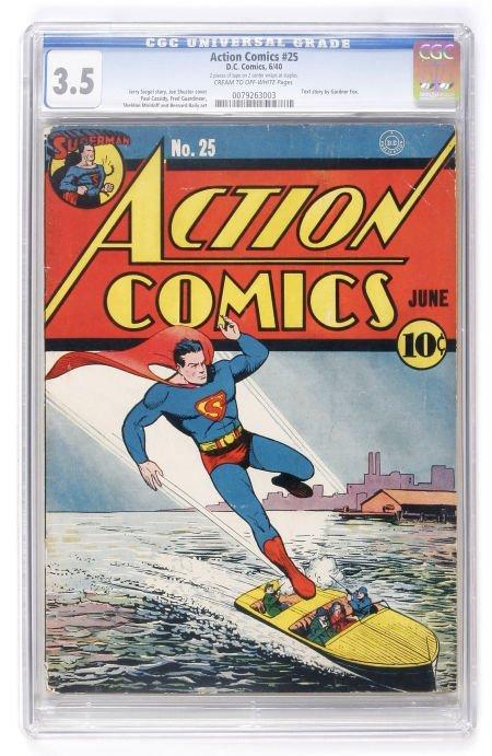 93001: Action Comics #25 (DC, 1940) CGC VG- 3.5 Cream t