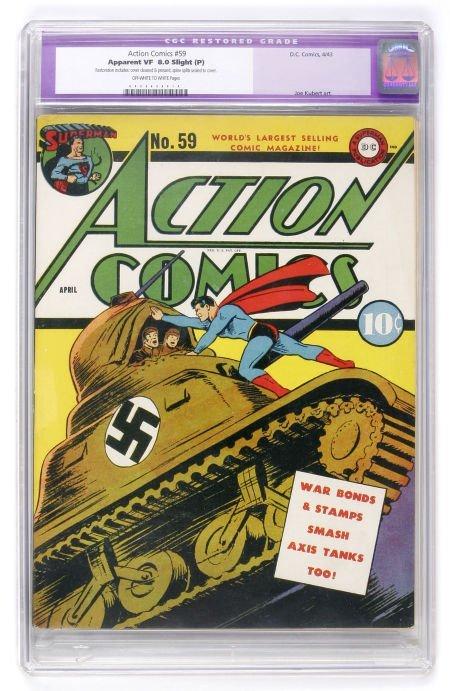 93002: Action Comics #59 (DC, 1943) CGC Apparent VF 8.0