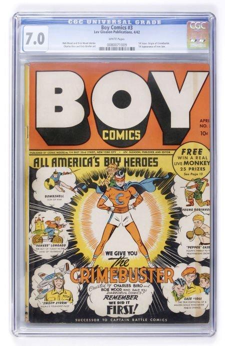 93016: Boy Comics #3 (Lev Gleason, 1942) CGC FN/VF 7.0