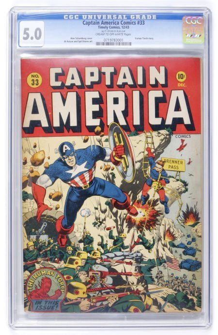 93019: Captain America Comics #33 (Timely, 1943) CGC VG