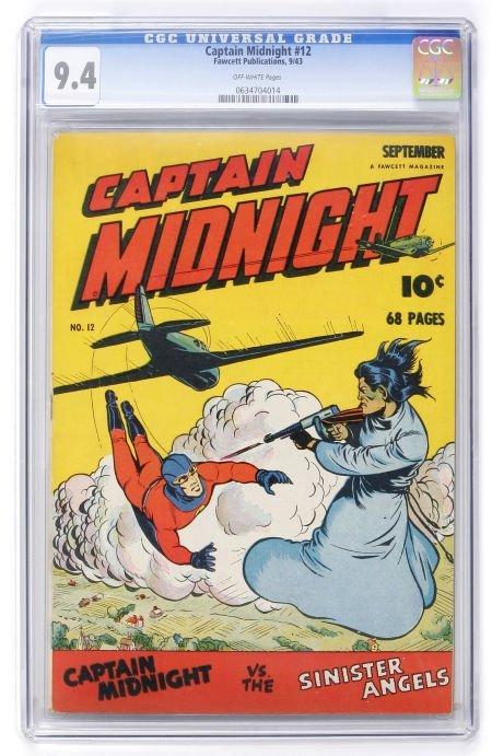 93024: Captain Midnight #12 (Fawcett, 1943) CGC NM 9.4