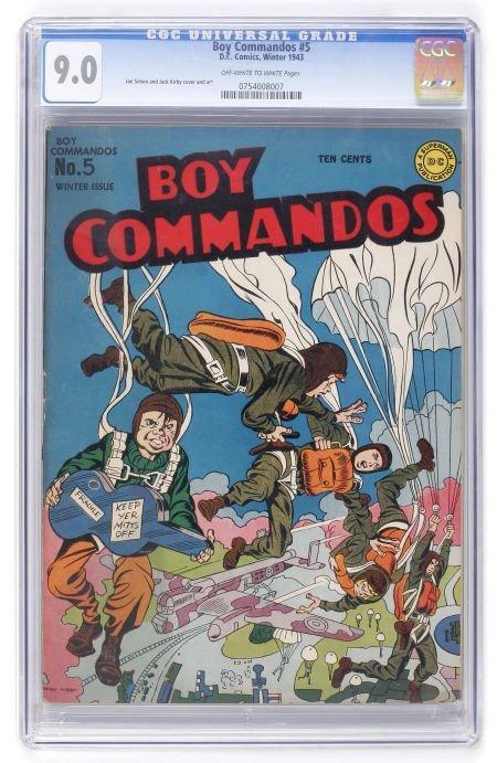 93017: Boy Commandos #5 (DC, 1943) CGC VF/NM 9.0 Off-wh