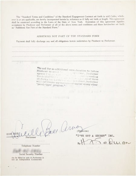 49010: Lucille Ball Signed Contract. A single-page, dou