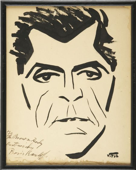 49116: Boris Karloff Signed Sketch from the Brown Derby