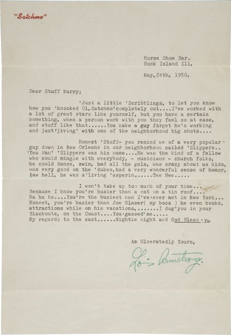 50001: Louis Armstrong Signed Letter. A single-page typ