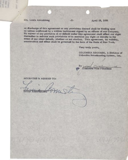 50002: Louis Armstrong Signed Contract. A five-page agr
