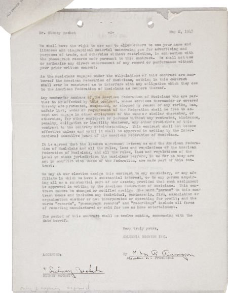 50004: Sidney Bechet Signed Contract. A two-page agreem