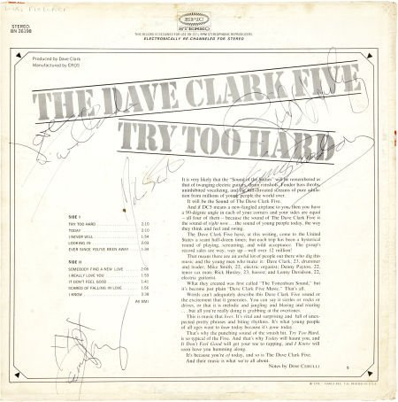 50013: Dave Clark Five Band-Signed Copy of Try Too Hard