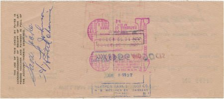 50016: Sam Cooke Signed Check. A check for $56.90, date