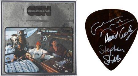 50023: Crosby, Stills & Nash Signed Giant Guitar Pick w