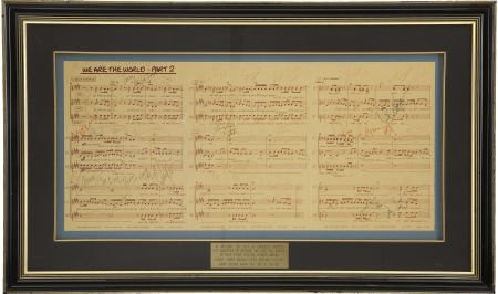 """50061: """"We Are the World"""" Autographed Sheet Music. Reco"""
