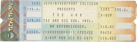 50062: The Who Cincinnati 1979 Concert Ticket. An unuse