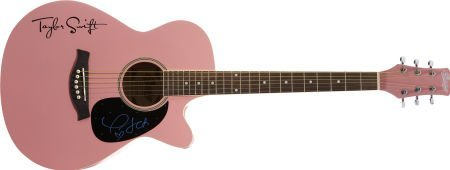 50144: Taylor Swift Signed Guitar. A pink Copley acoust
