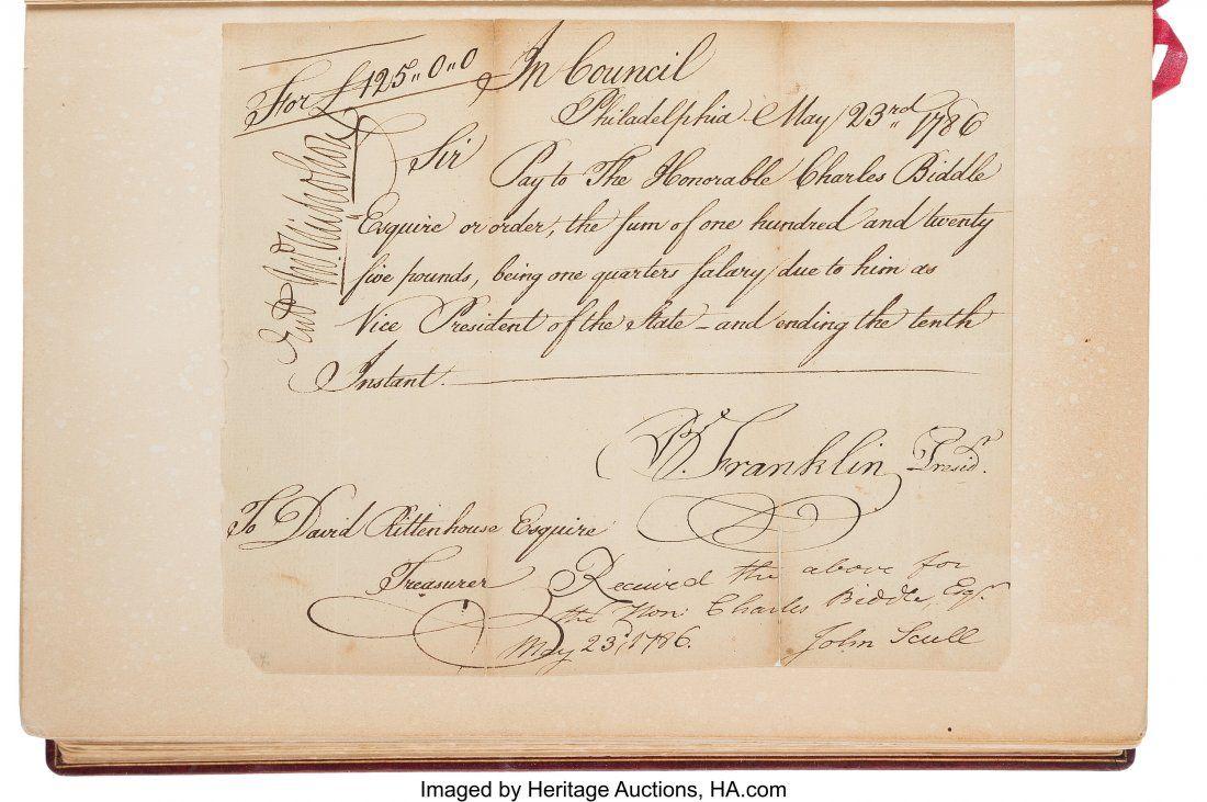 "47013: Benjamin Franklin Document Signed ""B. Franklin P"