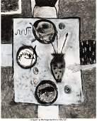 77088: Squeak Carnwath (b. 1947) At Table, 1985 Mixed m