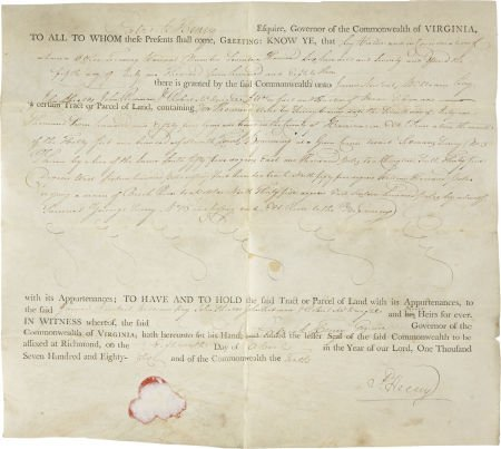"35002: Patrick Henry Land Grant Document Signed ""P. Hen"