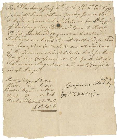 35003: [Revolutionary War] Benjamin Hickok Autograph Do