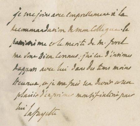 35006: Marquis de Lafayette Autograph Endorsement Signe