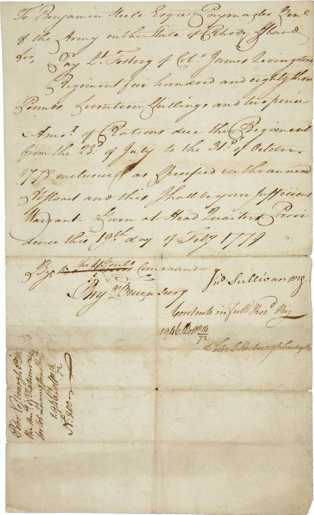 35009: [Battle of Rhode Island] John Sullivan Document