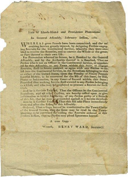 35013: [Henry Ward] Rhode Island Revolutionary War Broa