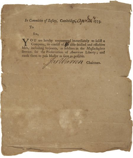 35014: Joseph Warren Partly Printed Document Signed as