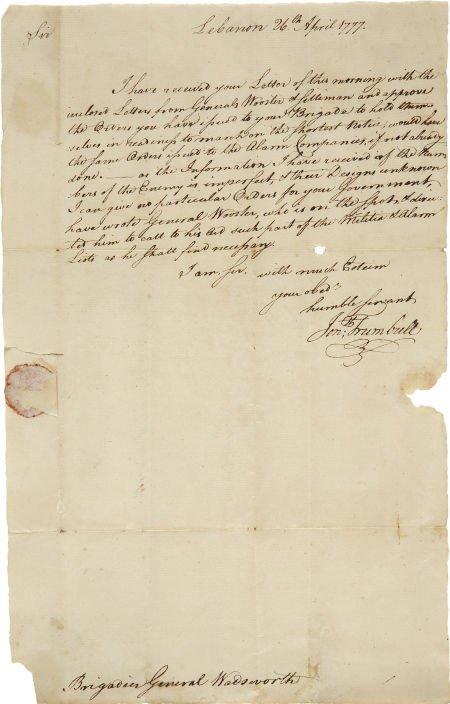 35017: [Battle of Ridgefield] Jonathan Trumbull Letter
