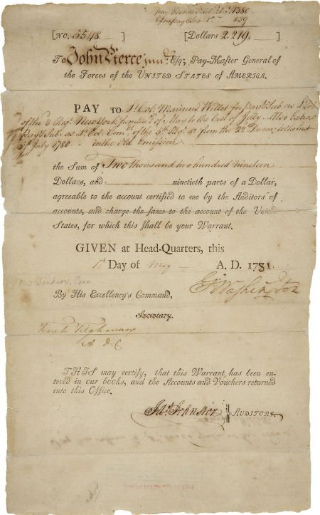 35018: George Washington War-Dated Pay Warrant Signed.
