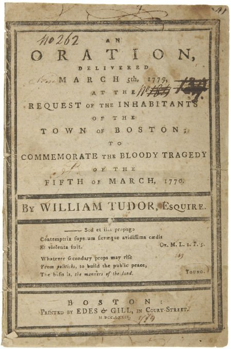 "35020: [Boston Massacre Pamphlet] William Tudor: ""An Or"