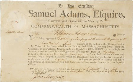 35021: Samuel Adams Document Signed as governor of Mass