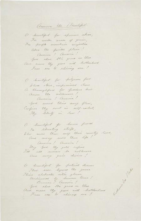 """35079: Katharine Lee Bates Autograph Lyrics to """"America"""