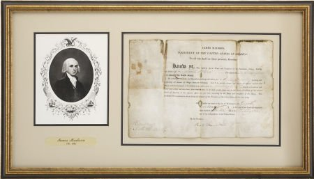 35250: James Madison Document Signed as the fourth pres