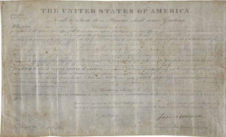 35251: James Monroe Land Grant Signed as President. One