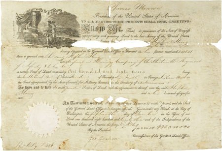 35252: James Monroe Document Signed as president. One p