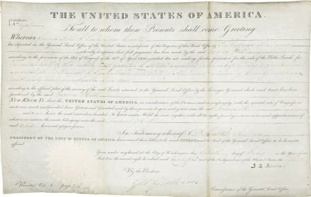 35254: John Quincy Adams Land Grant Signed as President